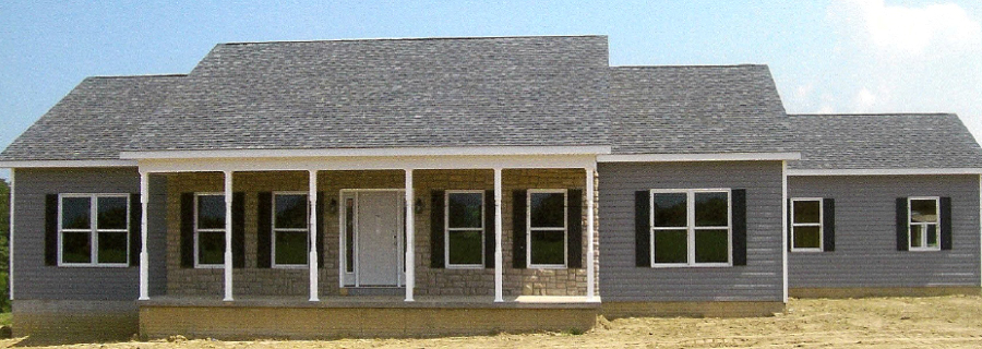 custom home, grey siding with black shutters, open porch area